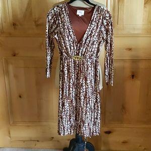 NWOT Milly 3/4 Sleeve V-neck Dress, Gold belt